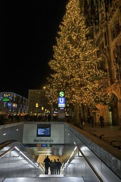 marienplatz subway and xmas tree -