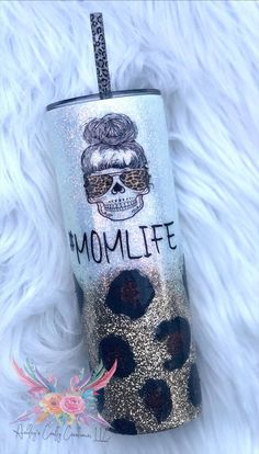 Excited to share this item from my #etsy shop: Mom Life Tumbler | Leopard Glitter Tumbler| Messy Bun | Animal Print Tumbler #animalprint #glittertumbler #momglittercup #momgift #leopardskullcup #messybunleopard #leopardmomskull #messybunskull #momlifeglittercup Vinyl Tumblers, Custom Tumblers, Glitter Cups, Glitter Tumblers, Tumblr Cup, Custom Yeti, Custom Cups, Tumbler Designs, Cricut Creations