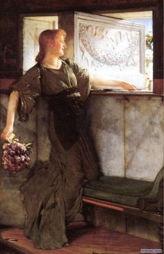 Sir Lawrence Alma-Tadema. In this painting, a girl has found a gift by the window. In her hand, we see a bouquet with a letter. She is looking outside to see who left the missle.