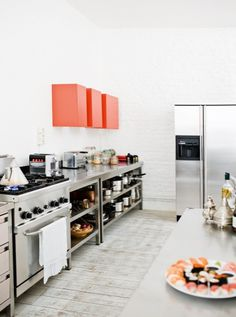 coral accented kitchen.