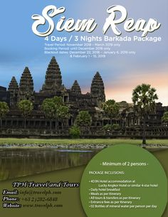 4D3N SIEM REAP BARKADA PACKAGE (Land Arrangement Only) Minimum of 2 persons to travel  For more inquiries please call: Landline: (+63 2)282-6848 Mobile: (+63) 918-238-9506 or Email us: info@travelph.com #Cambodia #TravelPH #TravelWithNoWorries Siem Reap, Angkor, Cambodia, Tours, Phone, Day, Travel, Telephone, Viajes