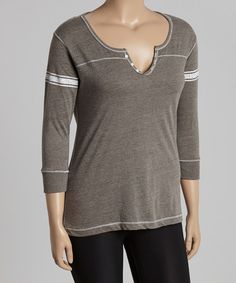 Look at this Graphite Stripe Henley - Plus on #zulily today!
