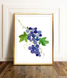 This is an original watercolor painting of purple grapes, hand painted by me, the artist. It is NOT a copy or a print, you receive an authentic and unique piece of art! I painted this fruit watercolor using extra fine watercolor paints on thick, texturized watercolor paper. The size of the painting