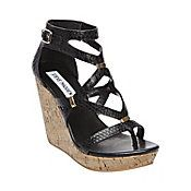 Steve Madden - 'Coolness' / Genuine leather upper with open design, adjustable buckle ankle strap, and ornate gold-tone jewelry scattered throughout.