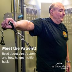 Vince learned that with a standard shoulder replacement he would not be able to continue with his hobbies. He opted for the Arthrosurface Shoulder System and has gotten his life back! Shoulder Surgery, Got Him, Weight Lifting, Martial Arts, Hobbies, Learning, Life, Powerlifting, Teaching