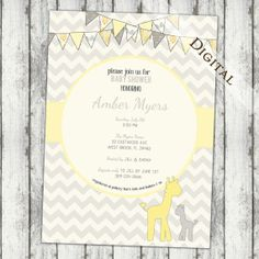 Chevron Baby Shower Invitation giraffe Baby Shower Invitation gender neutral yellow and grey baby shower Invites (item109f)
