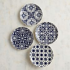 Get salad plates and dinnerware online. Dark blue hues and a beautiful Mediterranean-inspired look make our glazed stoneware salad plates perfect for your next party. Plus, they're dishwasher-safe and microwaveable. Pottery Painting Designs, Pottery Art, Blue Pottery, Mediterranean Home Decor, Ceramic Tableware, Blue Tiles, Plate Design, Blue Plates, Plates On Wall