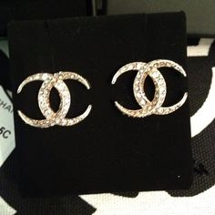 Chanel CC Moonlight Stud Swarovski Earrings