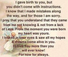 .Precious words from a Mother's heart.