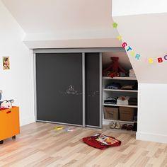 Great idea for office. chalkboard closet doors