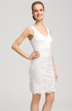 For Ashley's wedding: Sue Wong Double V-Neck Embroidered Sheath Dress available at Nordstrom