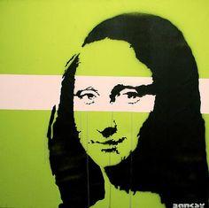 Mona Lisa by Banksy the British street artist with an international reputation. #green #banksy