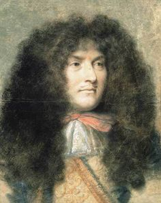 The Wig Business was Big Business in Century France by Lucinda Brant. Article for English Historical Fiction Authors. Portrait of Louis XIV by Charles Le Brun, Louis Xiv, Roi Louis, French History, European History, British History, Marie Antoinette, Ludwig Xiv, Historical Fiction Authors, Chateau Versailles