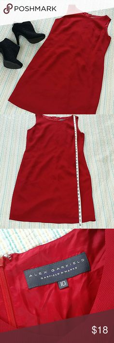 SOLD Garfield And Marks Ribbed Red Sheath Dress Garfield And Marks Ribbed Sleeveless Fully Lined Red Classic Sheath Dress Sz 10 Garfield & Marks Dresses Midi