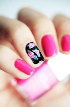 Floral Pink & Black Nails
