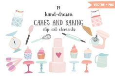 Cakes and baking clip art by The little cloud on @creativemarket