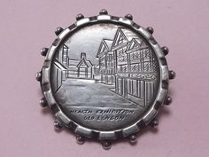 ANTIQUE STERLING SILVER HEALTH EXHIBITION OLD LONDON SOUVENIR BROOCH PIN 1884