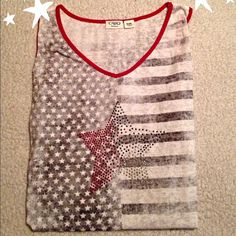 "Patriotic Tank by Cato This shirt is so cute. Wore once. Excellent condition. It's 23"" underarm to underarm and 25"" long in front and 28"" long in back Cato Tops Tank Tops"