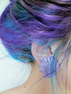 Blue and purple hair girly hair colorful hair hair styles blue hair hair ideas hair dye hair trends colorful hair ideas hair trend Bright Hair Colors, Hair Color Purple, Colorful Hair, Teal Hair, Purple Teal, Deep Purple, Periwinkle Hair, Peacock Hair, Cyan Blue