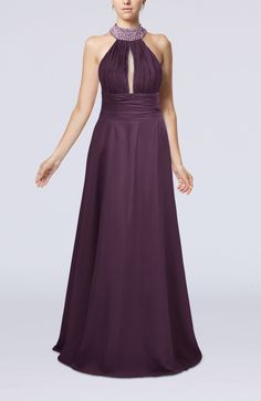 Plum Evening Dress - Elegant A-line Sleeveless Zip up Floor Length