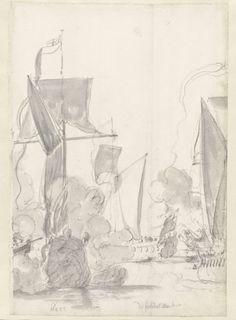Willem van de Velde (I) | De jachten Kitchen (kroo) en Cleveland (klevelant) tijdens de tocht van de Engelse koning Karel II over de Thames naar Sheerness en Chatham op 27 Augustus 1681, Willem van de Velde (I), 1681 |