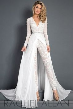 Discount 2018 Lace Chiffon Wedding Dress Jumpsuit With Train Modest V Neck Long Sleeve Beaded Belt Flwy Skirt Beach Casual Jumpsuit Bridal Gown Backless Wedding Dress Expensive Wedding Dresses From Alegant_lady, &Price; Wedding Dress Chiffon, Wedding Robe, Wedding Pantsuit, Couture Wedding Gowns, Backless Wedding, Lace Chiffon, Modest Wedding, Wedding Skirt, Gothic Wedding