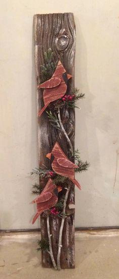 Christmas DIY: Cardinals on Barnwoo Cardinals on Barnwood #christmasdiy #christmas #diy