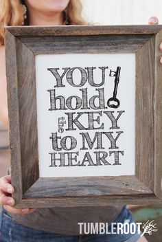 """You Hold The Key To My Heart"" typographic art print. 8x10 and 16x20. Black ink on paper bag. $16"