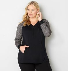 Chill out in our Contrast Sleeve Hoodie available in plus sizes 14-32 at avenue.com. Avenue Store