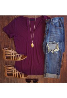 Jenna Basic Top - Burgundy