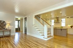 hardwood floors, tongue and groove paneling on the ceiling