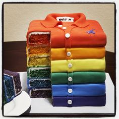 Rainbow PARTY ~ POLO SHIRT CAKE ~ Recipe attached!