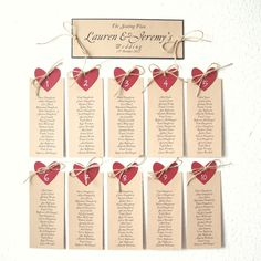 Wedding seating plan with Red heart and natural jute set of 10 and the intro card