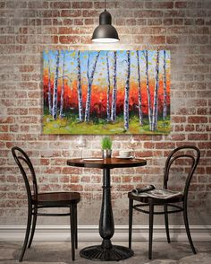 Palette Knife Painting Birch Tree Painting by PaletteKnifeArt
