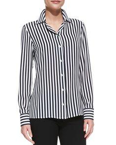 Long-Sleeve Striped Silk Shirt, Midnight/White