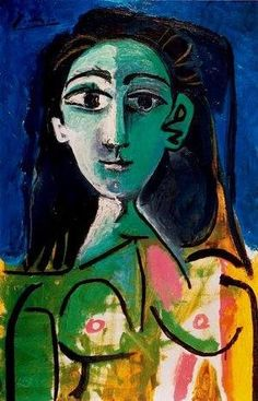 Pablo Picasso (Spanish, 1881–1973): Portrait of Jacqueline, c. 1956. Oil on canvas. © Estate of Pablo Picasso / Artists Rights Society (ARS), New York. © This artwork may be protected by copyright. It is posted on the site in accordance with fair use principles.