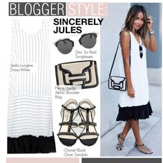 A fashion look from September 2015 featuring Chanel sandals, Pierre Hardy shoulder bags and Christian Dior sunglasses. Browse and shop related looks.