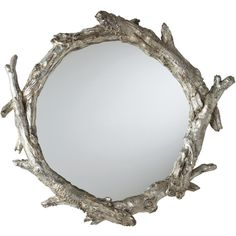 Circular Wall Decor ren-wil brocade mirror - antique silver leaf with the