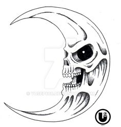 I only for the illusion of the crescent moon The skull crescent moon Skull Girl Tattoo, 4 Tattoo, Skull Tattoos, Flash Art Tattoos, Tattoo Design Drawings, Skull Tattoo Design, Dark Art Drawings, Skull Drawings, Skull Coloring Pages