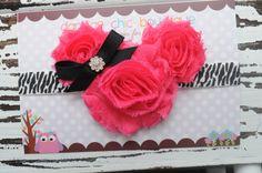 Minnie mouse zebra shabby headband. Newborn, infant, child, adult. Baby headband, minnie headband, pink minnie mouse