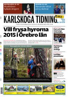 Första sidan i Karlskoga Tidning