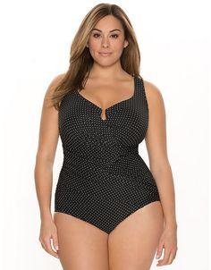 Gandolf pinpoint swim suit by Miraclesuit | Lane Bryant