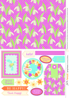 Free Spring Flowers printables from Papercraft inspirations issue 136