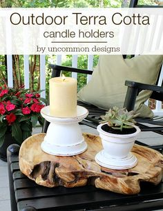 Create these amazing and beautiful outdoor terra cotta candle holders in 3 simple steps with pots! #outdoorliving #patiopaint #decoart via www.uncommondesignsonline.com