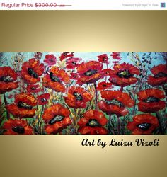 Original Painting Abstract Oil Flowers RED POPPIES by LUIZAVIZOLI, $255.00