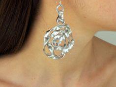 Earrings, Aluminum earrings, Made in Greece, Crafting, Aluminum jewelry, Wedding, Modern earrings, Spiral earrings, Silver hanging #earrings #silver #aluminium #rose #jewelry #statement #hanging #greek #gift #accessories