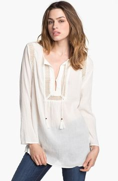 Soft Joie 'Dallis' Crochet Trim Peasant Top available at Nordstrom