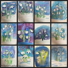 Class Art Projects, Spring Art Projects, Art Lessons For Kids, Art For Kids, Painting For Kids, Drawing For Kids, Flower Crafts, Flower Art, Cherry Blossom Painting