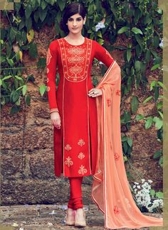Buy Red color satin straight cut casual wear anarkali suit at kollybollyethnics with free worldwide shipping.