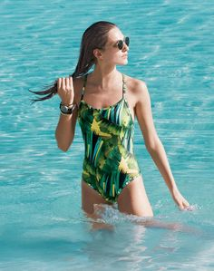 J.Crew women's jungle print racer one-piece and Ray-Ban® sunglasses. To pre-order, call 800 261 7422 or email verypersonalstylist@jcrew.com.